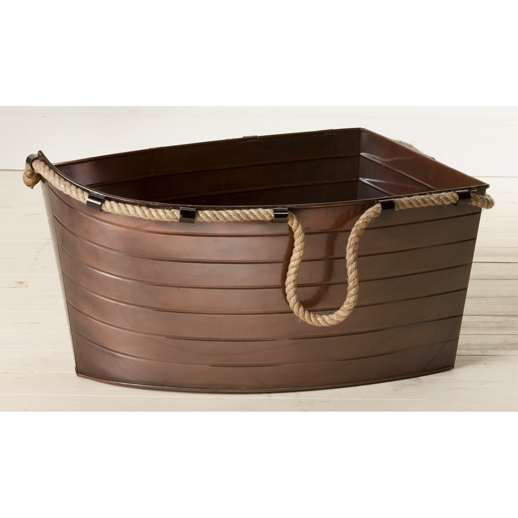 KINDWER Antique Copper Boat Tub with Hemp Handles, Brown ...