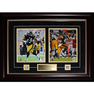 Pittsburgh Steelers Troy Polamalu Signed 2-photo Framed Wall Plaque
