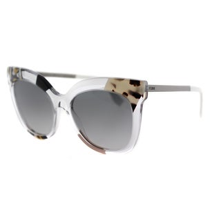 Fendi FF 0179 TDW Jungle Crystal Ruthenium Plastic Cat-Eye Grey Gradient Lens Sunglasses