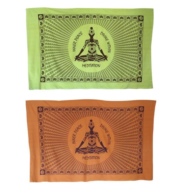 Handmade Inner Peace Meditating Yogi Yoga Tapestry (India)