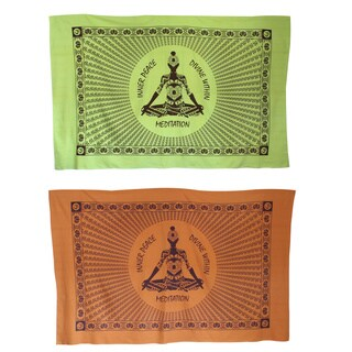 Handmade Inner Peace Meditating yogi Yoga Tapestry Wall Hanging (India)