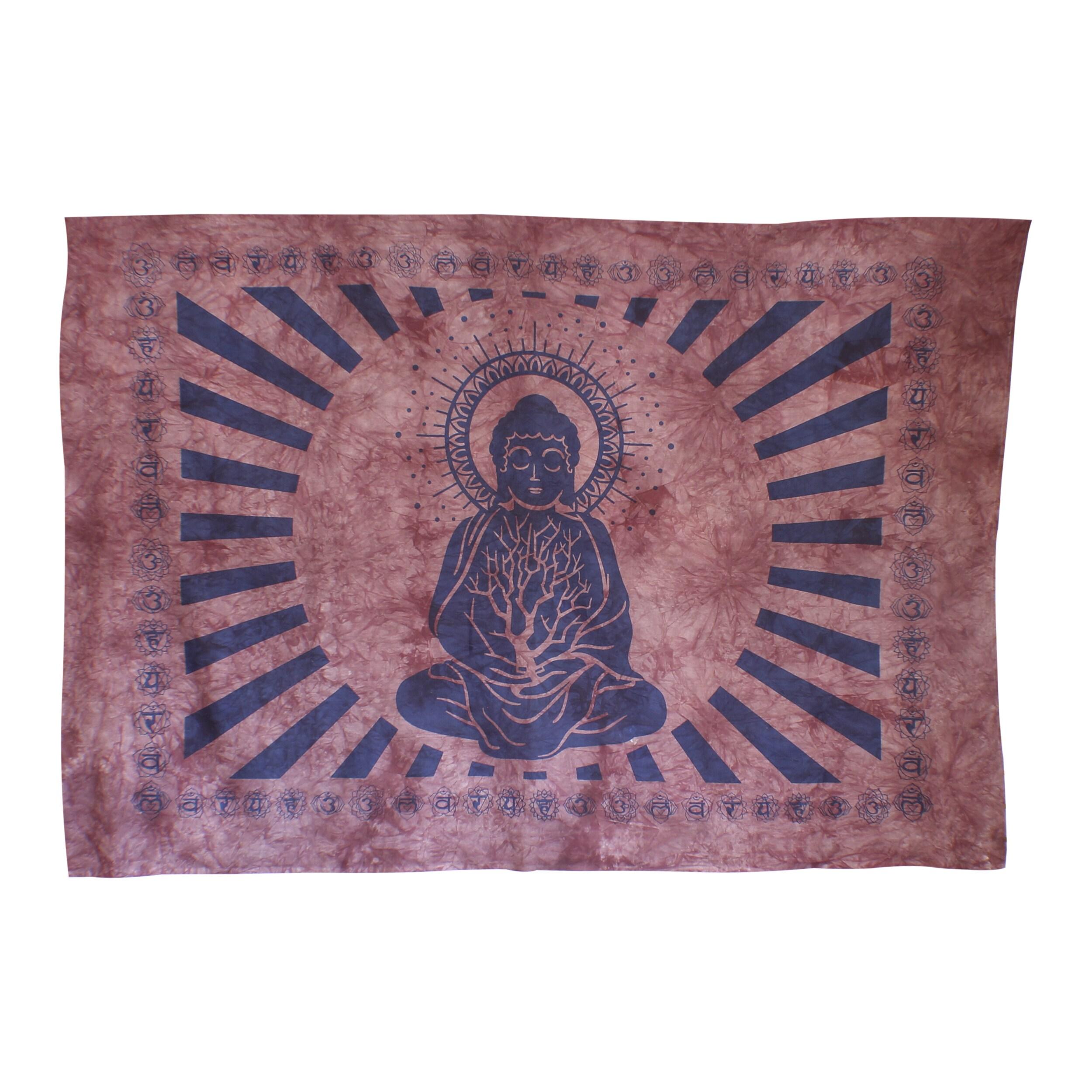 Handmade Inner Peace Meditating Buddha Yoga Tapestry Wall Hanging (India)