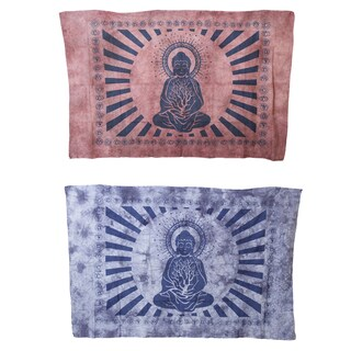 Handmade Inner Peace Meditating Buddha Yoga Tapestry Wall Hanging (India)