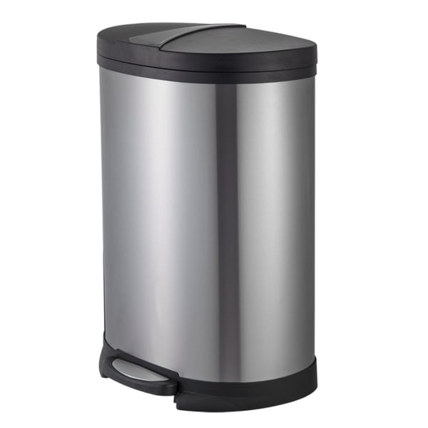 Shop Joyware Stainless Steel 50-liter D-shaped Trash Can ...