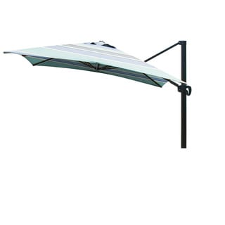 California Umbrella 10' Sq. Aluminum Cantilever, Crank Lift, Slide Tilt, Double Wind Vent, Bronze Finish, Sunbrella Fabric