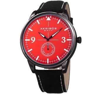 Akribos XXIV Men's Quartz Red Canvas Leather Strap Watch