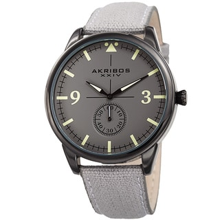Akribos XXIV Men's Quartz Gray Canvas Leather Strap Watch