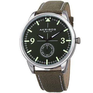 Akribos XXIV Men's Quartz Green Canvas Leather Strap Watch