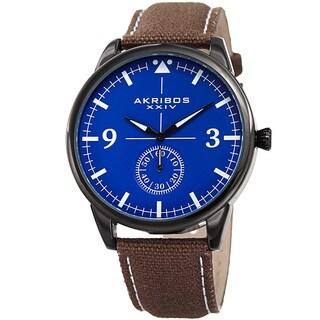 Akribos XXIV Men's Quartz Brown Canvas Leather Strap Watch