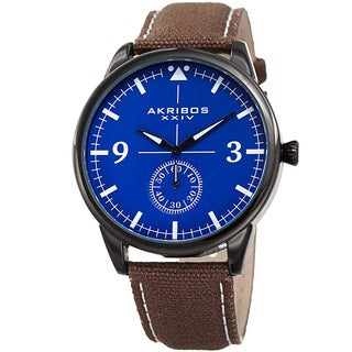 Akribos XXIV Men's Quartz Brown Canvas Leather Strap Watch
