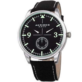 Akribos XXIV Men's Quartz Black Canvas Leather Strap Watch