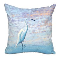 16 x 16-inch Egret Animal Print Outdoor Pillow