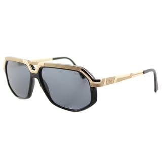 Cazal Cazal 8021 001 Shiny Black Gold Plastic Grey Lens Aviator Sunglasses
