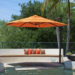 California Umbrella 11' Rd. Aluminum Cantilever, Crank Lift, Slide Tilt, Double Wind Vent, Bronze Finish, Sunbrella Fabric