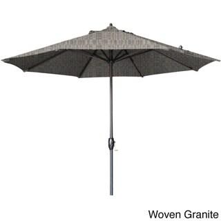 California Umbrella 9' Round Aluminum Crank Open Auto Tlit Market Umbrella, Bronze Frame Finish, Olefin Fabric