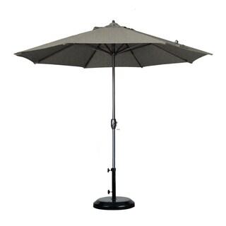 California Umbrella 9' Round Aluminum Crank Open Auto Tlit Market Umbrella, Bronze Frame Finish, Sunbrella Fabric