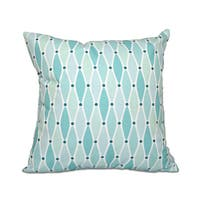 16 x 16-inch Wavy Geometric Print Outdoor Pillow