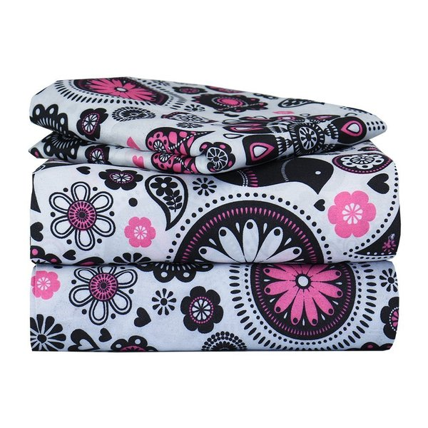 Pop of Floral Pink Twin Sheet Bedding Set