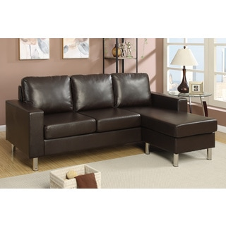 Kamez Espresso Faux Leather Two-piece Sectional