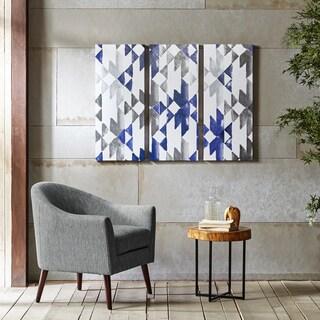 INK+IVY Navy Sierra Blue Gel Coat Printed 3-Piece Canvas Wall Art
