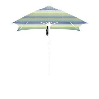 California Umbrella 6' Sq. Aluminum Frame, Fiberglass Rib Market Umbrella, Push Open, Bronze Finish, Sunbrella Fabric