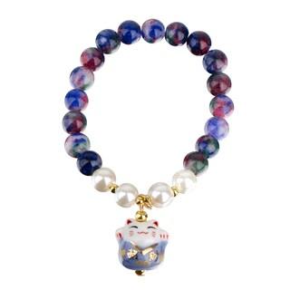 Toddler Girl Lucky Cat Blue Beaded Stretch Bracelet