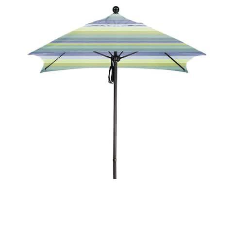 California Umbrella 6' Sq. Aluminum Frame, Fiberglass Rib Market Umbrella, Push Open, Bronze Finish, Sunbrella Fabric