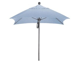 California Umbrella 6' Sq. Aluminum Frame, Fiberglass Rib Market Umbrella, Push Open, Anodized Sliver Finish, Sunbrella Fabric