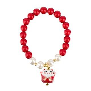 Toddler Girl Lucky Cat Red Beaded Stretch Bracelet