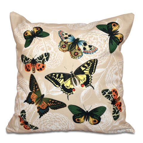 16 x 16-inch Antique Butterflies and Flowers Animal Print Outdoor Pillow