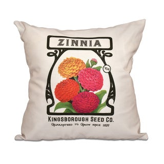 16 x 16-inch Zinnia Floral Print Outdoor Pillow