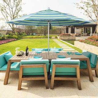 California Umbrella 11' Rd Aluminum Frame, Fiberglass Rib Market Umbrella, Push Open, Anodized Silver Finish, Pacifica Fabric