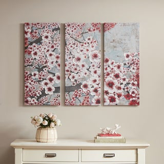 Madison Park Gleeful Blossoms Wine Burgundy Printed Canvas with Hand Embellishment 3-piece Set