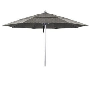 California Umbrella 11' Rd Aluminum Frame, Fiberglass Rib Market Umbrella, Push Open, Anodized Silver Finish, Sunbrella Fabric