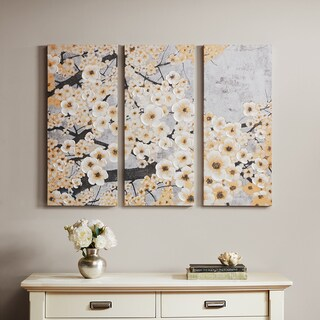 Madison Park Gleeful Blossoms Yellow Printed Canvas with Hand Embellishment 3-piece Set