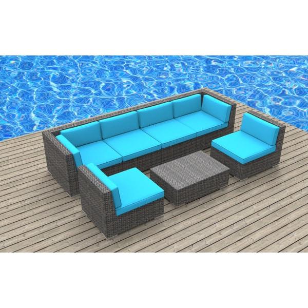 Great ... Urban Furnishing Oahu Wicker/Rattan 7 Piece Sectional Sofa Outdoor  Patio Furniture Set ...