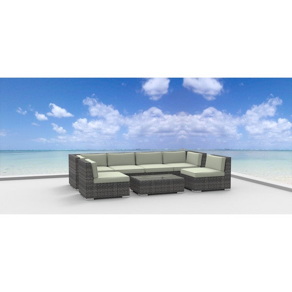 Genial Urban Furnishing Oahu Wicker/Rattan 7 Piece Sectional Sofa Outdoor Patio  Furniture Set