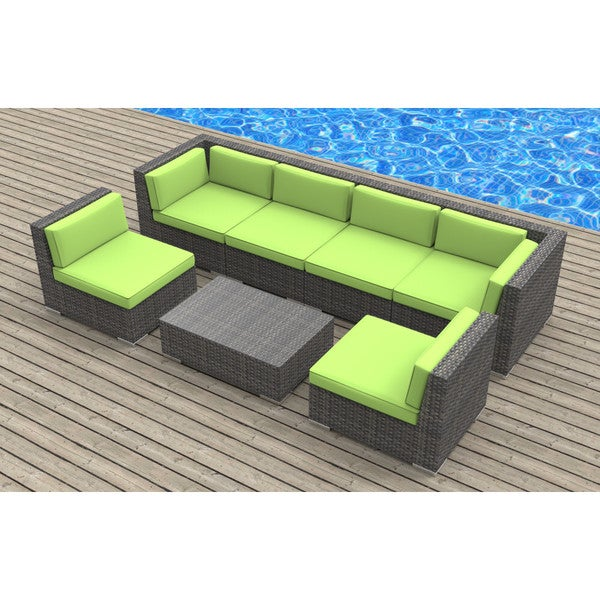 Urban Furnishing Oahu Wicker/Rattan 7 Piece Sectional Sofa Outdoor Patio  Furniture Set   Free Shipping Today   Overstock.com   18890550