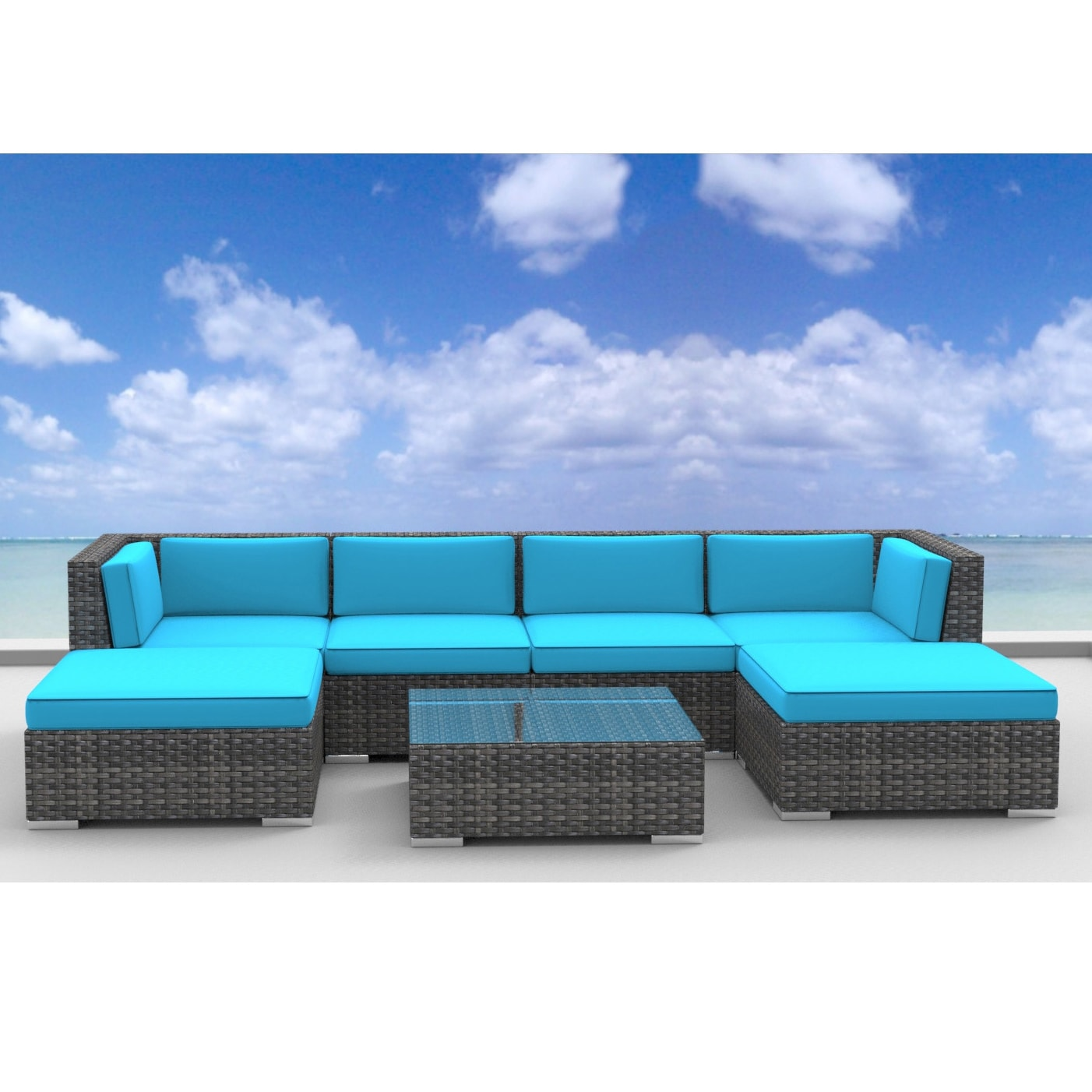Urban Furnishing Maui Rattan 7 piece Outdoor Sectional Sofa Patio