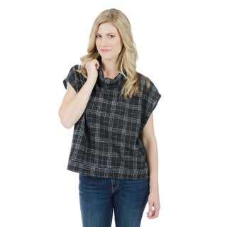 Trisha Tyler Women'S Grey/Purple Plaid Cowl Pullover Top