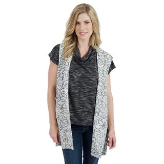 Trish Tyler Women's Grey and Black Textured Hi-low Vest with Side Buttons