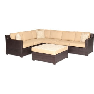 Hanover METRO5PC Metropolitan Sahara Sand Brown Wicker/Aluminum 5-piece Outdoor Lounge Set