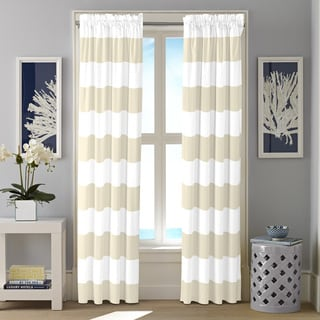 Nautica Cabana Cotton Striped Rod Pocket Curtain Panel Pair