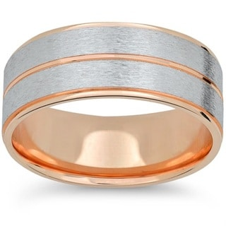 Link to 14k Rose & White Gold Two Tone Brushed 6mm Mens Brushed Wedding Band Similar Items in Rings