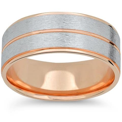 14k Rose & White Gold Two Tone Brushed 6mm Mens Brushed Wedding Band