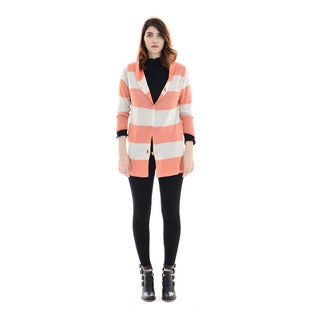 Trisha Tyler Women's Peach Striped 3/4-sleeved Hoodie Cardigan