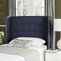 Safavieh Keegan Steel Blue Upholstered Tufted Wingback Headboard (Twin)
