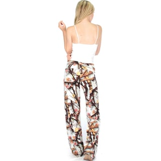Fold-Over Patterned Palazzo Flare Pants