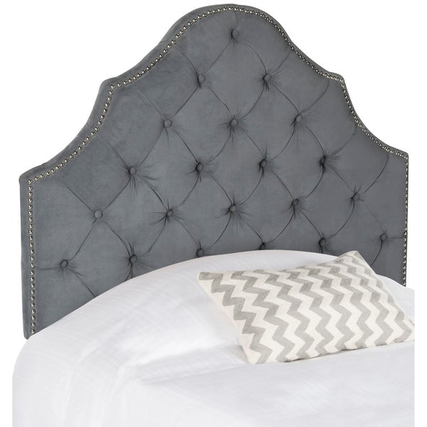 Safavieh Arebelle Sky Blue Upholstered Tufted Headboard Silver Nailhead Twin