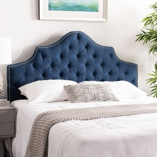 Safavieh Arebelle Steel Blue Upholstered Tufted Headboard - Silver Nailhead (Queen)